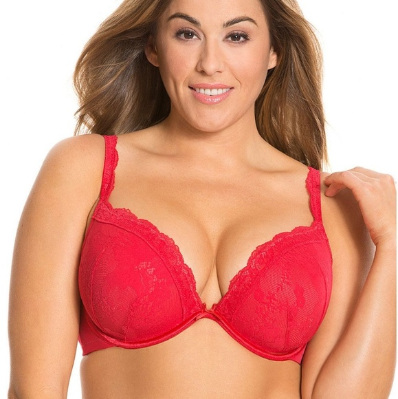 6f3badd0bbafc Cacique Other - Bold Lace Plunge Bra by Cacique